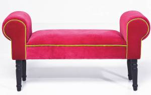 Contemporary pink velvet upholstered bench seat