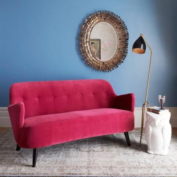 Luxury contemporary velvet sofa