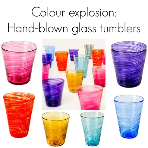 Colourful hand blown glass tumblers