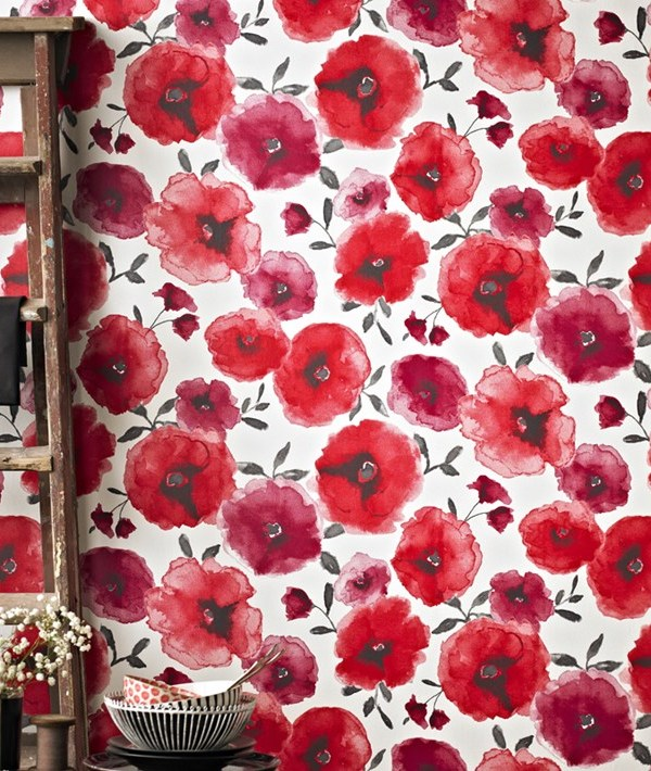Decorate a wall with red poppy wallpaper