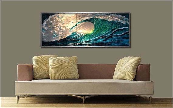Fresh design wall art ideas metal wave design