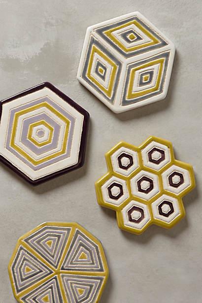 Adelaide geometric design earthenware coasters