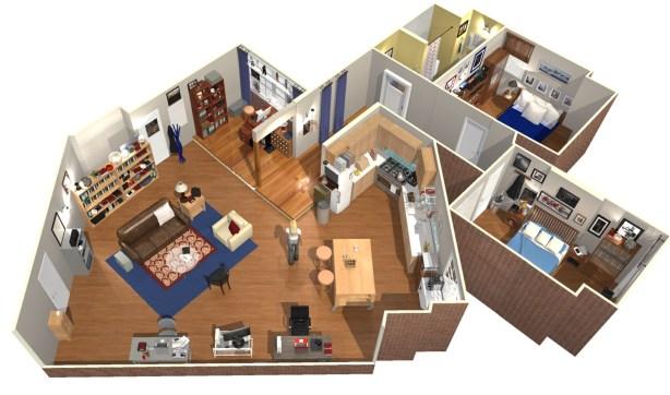 Big Bang Theory TV Sheldon and Leonard's apartment design