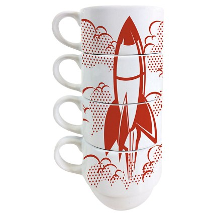 Rocket design stacking coffee cups by Jamie Oliver