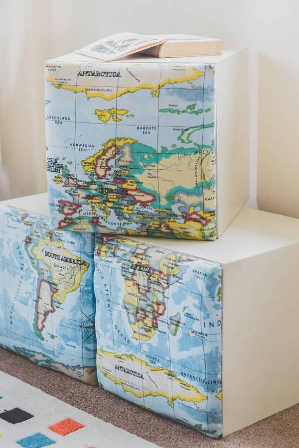 Map design fabric storage cubes