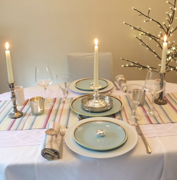 A romantic dinner for two table setting using Duckydora Amalfi range. Styled by Fresh Design Blog.