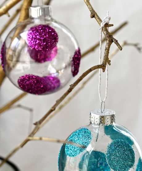 Make your own glitter polka dot holiday ornaments