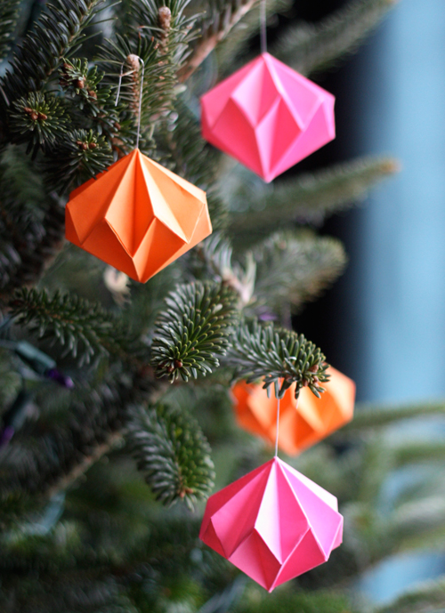 How to make origami diamond Christmas tree decorations