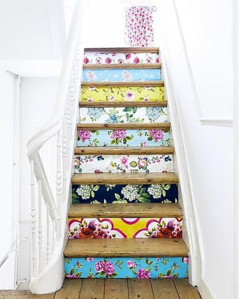 Love these eclectic and funky wallpapered stairs - what a great use of wallpaper!