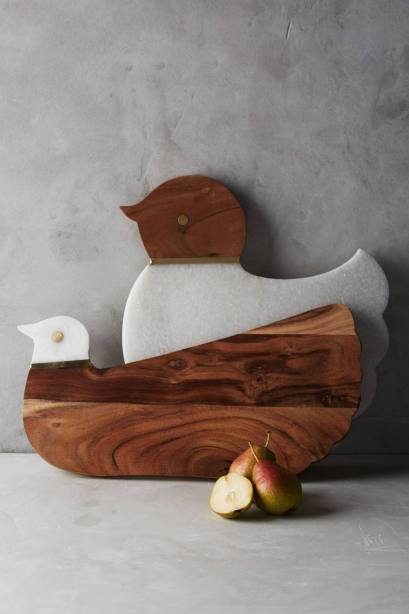 Cute chicken (cluck) and dove (coo) shaped wood and marble cutting boards