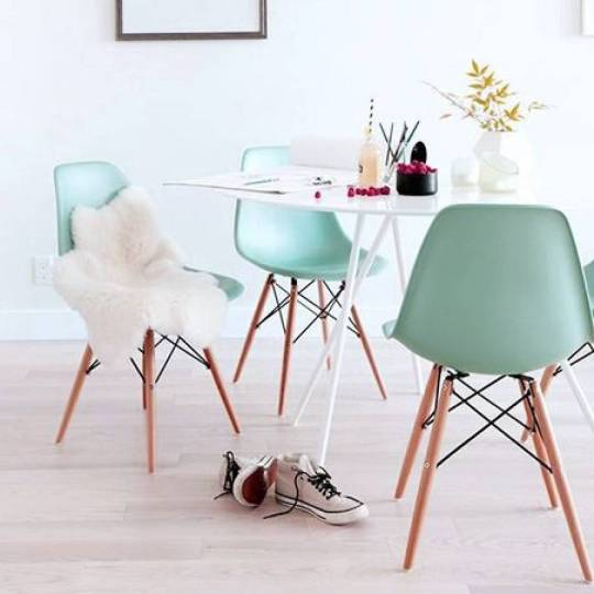 Eames inspired dining chairs in a lovely choice of soft pastel colours.