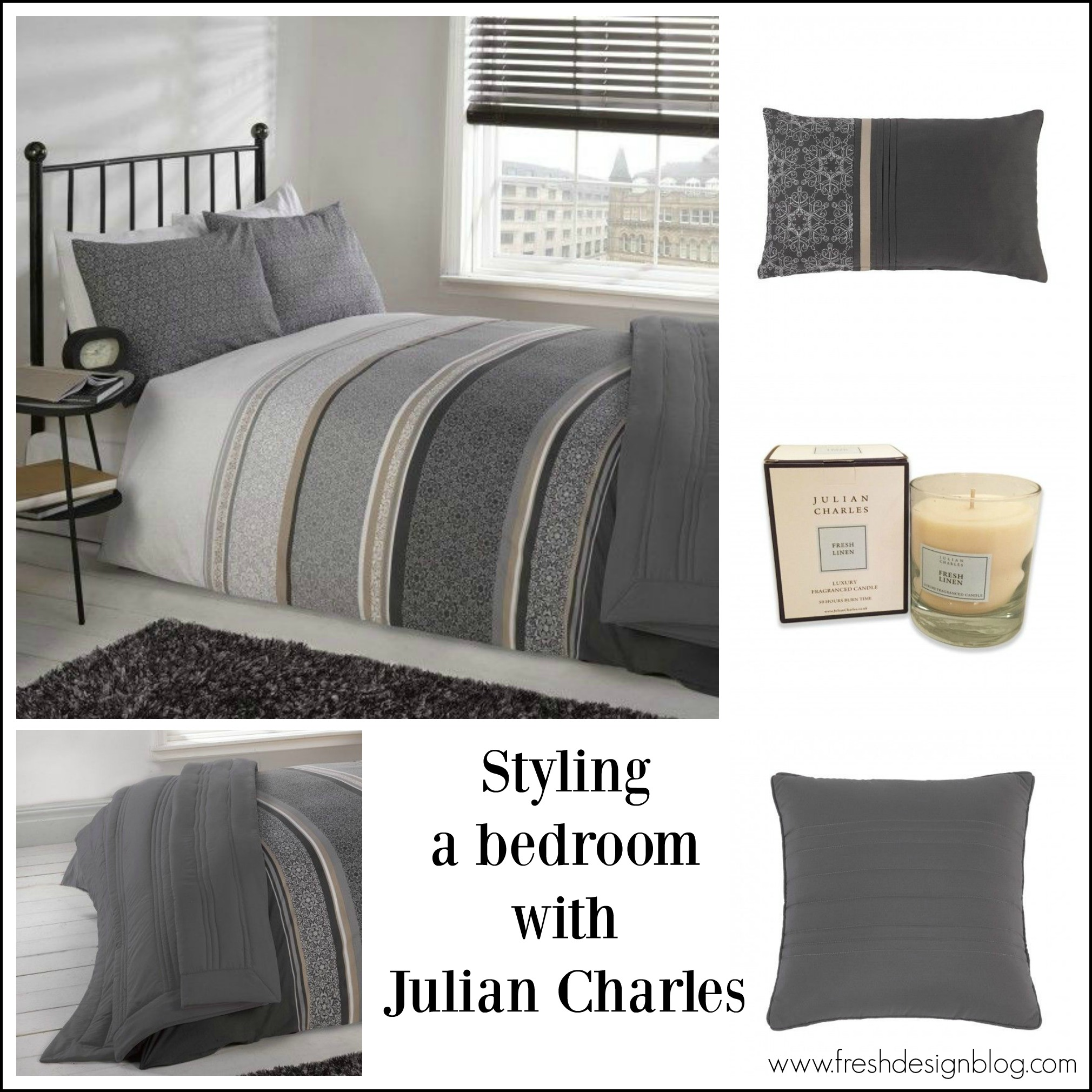 shades of grey contemporary bedroom styling idea - Textile Design Blogs