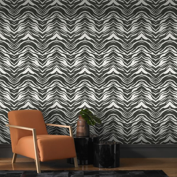 Stunning zebra animal print wallpaper by Rasch. It's a paste the wall job too, so easier to decorate with.