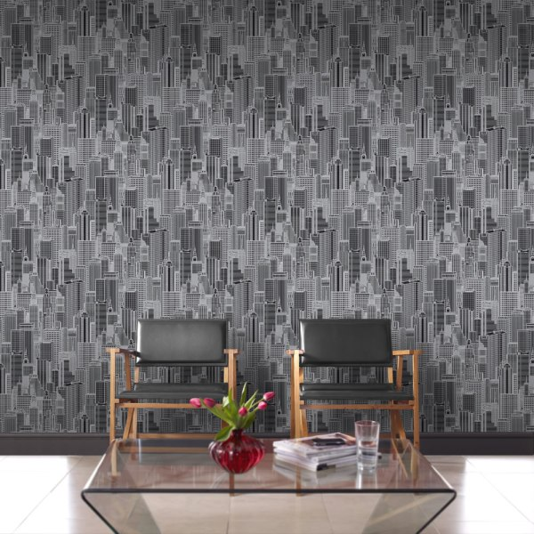 Graphic line drawing style Manhattan skyline wallpaper. Ideal for a contemporary feature wall decoration.