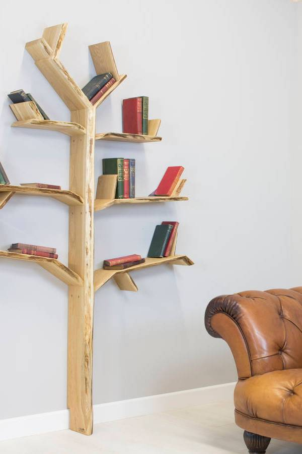 Stunning handmade tree design shelves by Bespoak Interiors