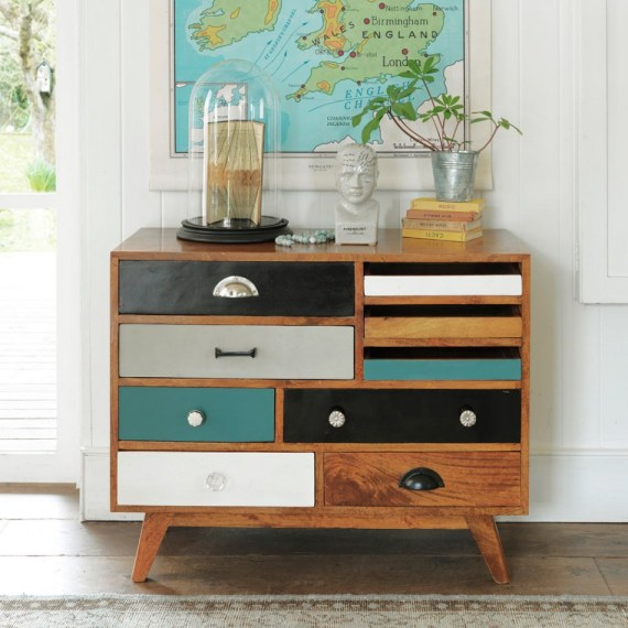 Gorgeous Darwin compact chest of drawers - lovely colour palette and multiple storage options.