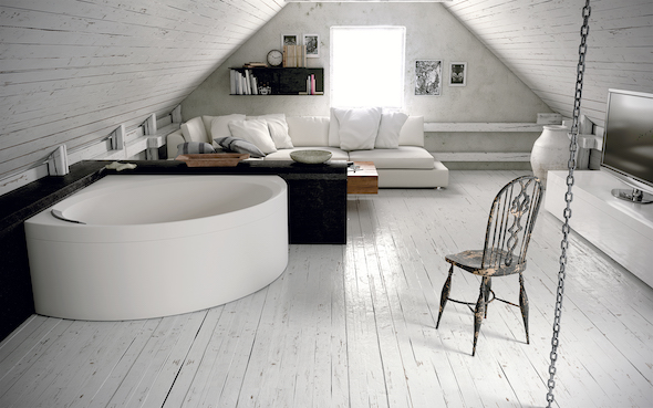 Love the look of this corner bath, especially as it still looks roomy despite its shape