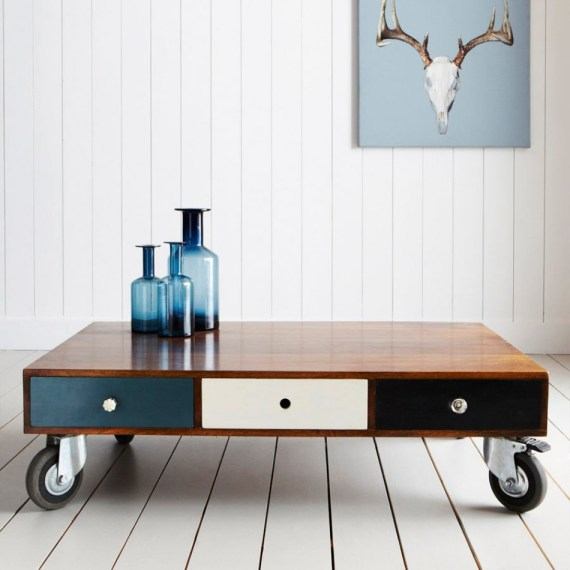 Love this contemporary mango wood pallet style coffee table from Graham & Green