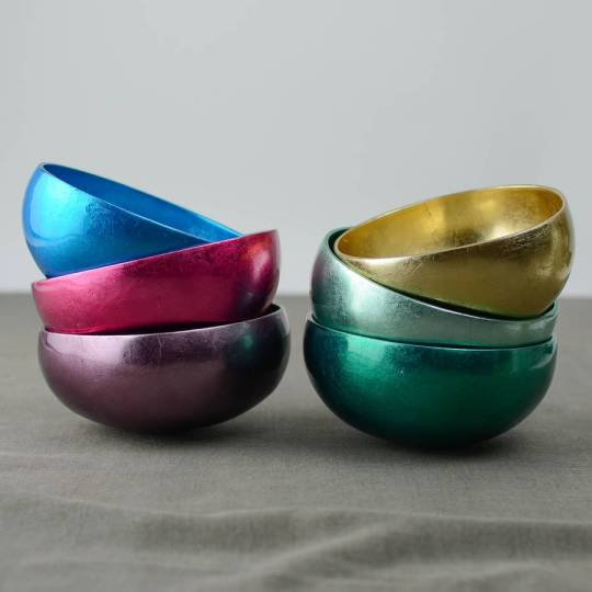 Gorgeous and super colourful metallic coconut bowls - perfect for serving nibbles in