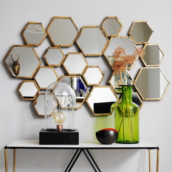 Amazing honeycomb hive gold mirror - 19 mirrors in one