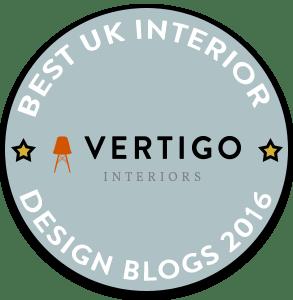 Fresh Design Blog awarded a place in the Vertigo Interiors Best UK Interior Design Blogs 2016