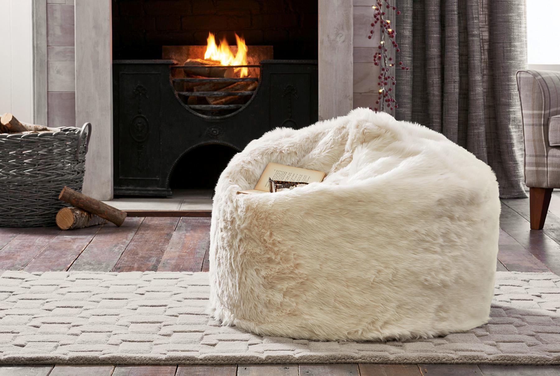 Gorgeous and super cosy cream textured faux fur bean bag 7cf0ccf294750