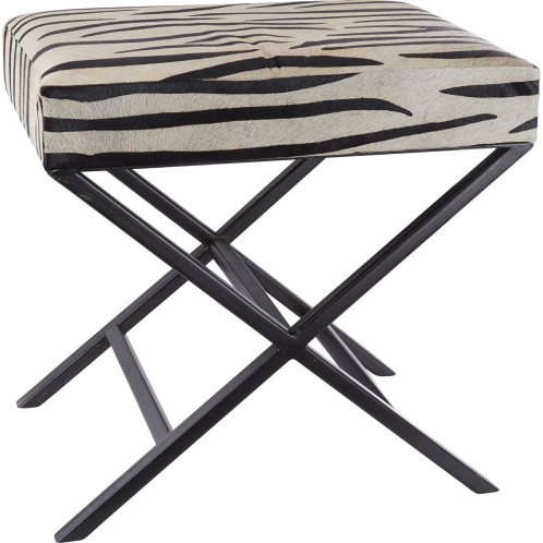 Stunning black and white print zebra stool
