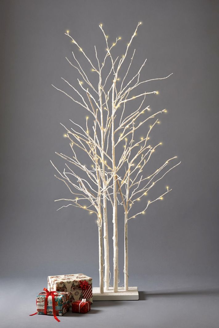 Lovely snowy white birch cluster Christmas tree - perfect as an alternative to a green fir tree this year