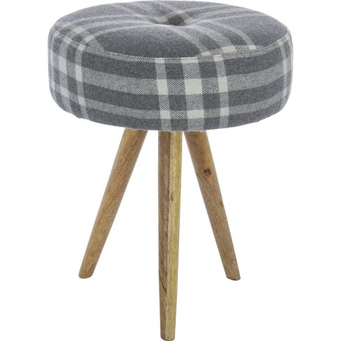 Cute grey upholstered stool that's space saving and comfy