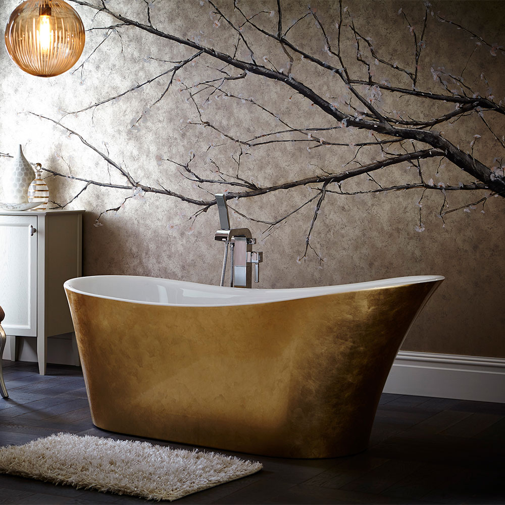 Wow, what a stunning metallic gold bath! It's freestanding, but made of acrylic, so ideal for modern bathrooms.