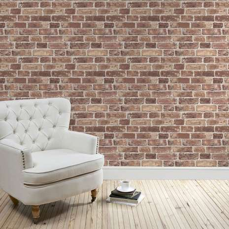Use this photographic print brick wall wallpaper to create a feature in your home