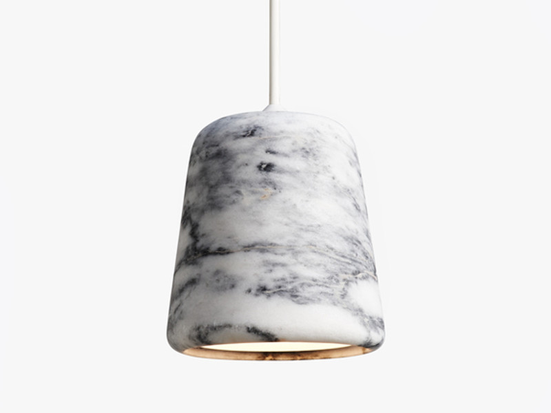 Jump on the marble trend with this lovely white and black marble pendant light by New Works