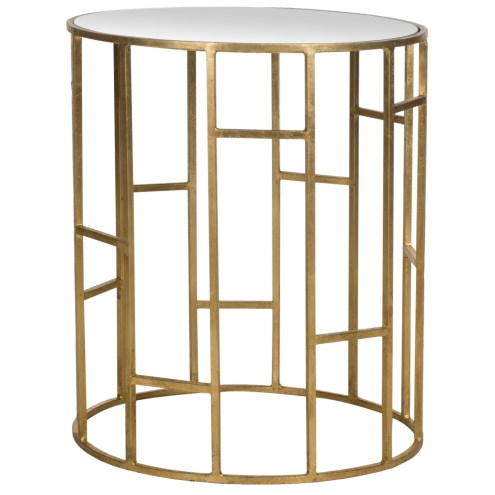 Safavieh geometric base gold side table with a mirrored top