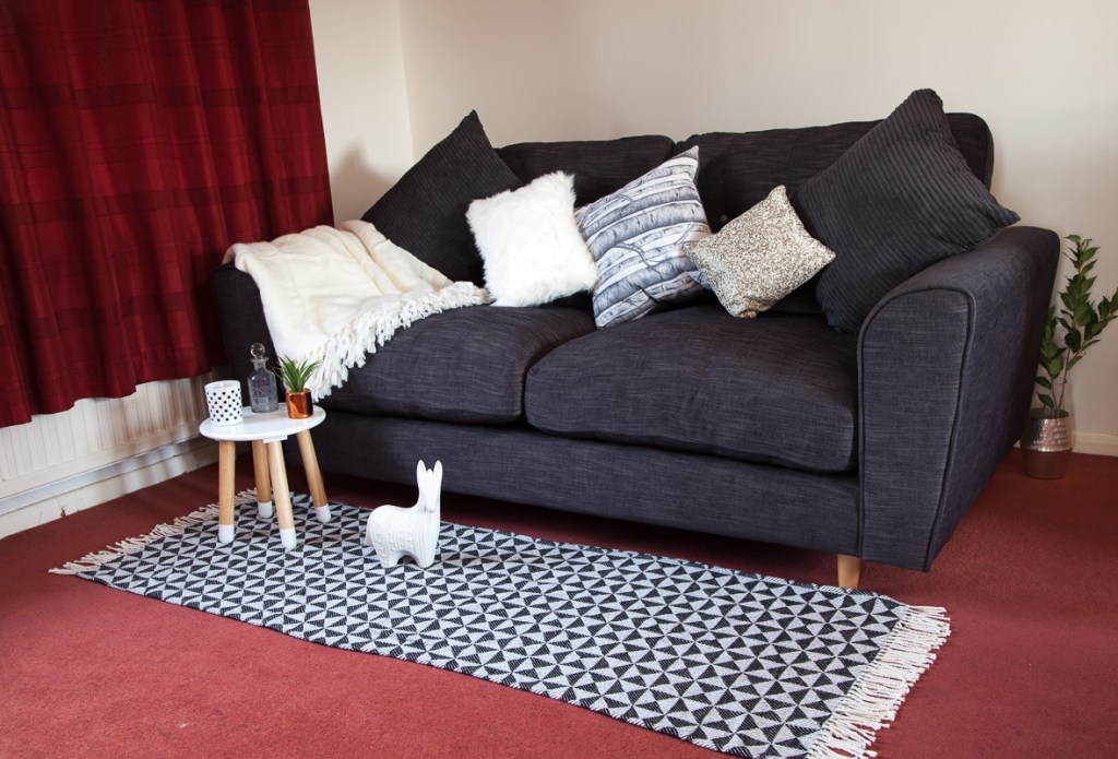 Cosy sofa styling idea for a charcoal sofa