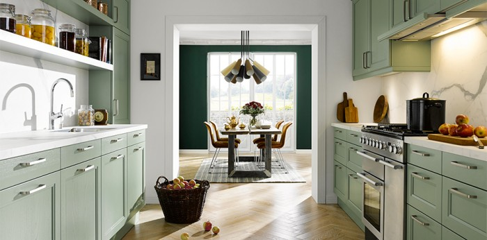 Gorgeous Finca kitchen in an on trend shade of green