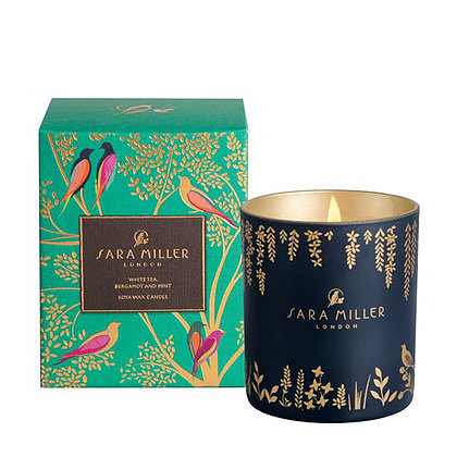Stunning white tea, bergamot and mint candle from Sara Miller London. Adorable packaging design!