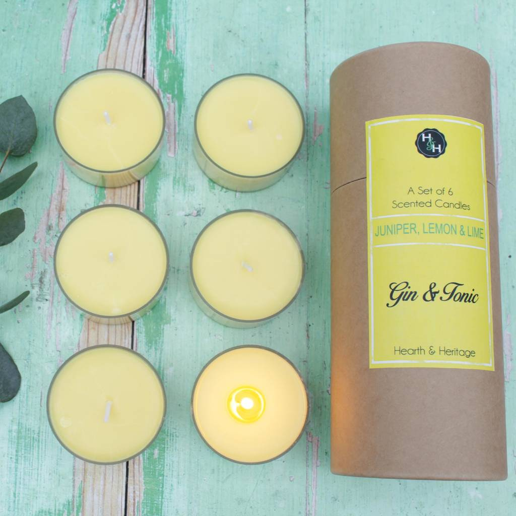 Indulge in the scent of gin and tonic in your home with this set of candles