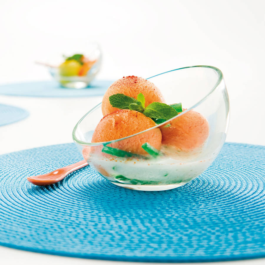 Unusual asymmetrical curved glass dish that's perfect for serving sorbet in