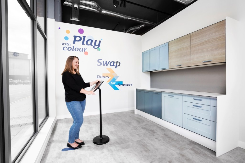 Clever digital kitchen display area in the Magnet showroom in Sutton, Surrey