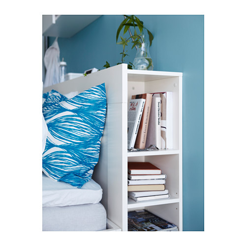 Clever Ikea headboard which benefits from hidden storage