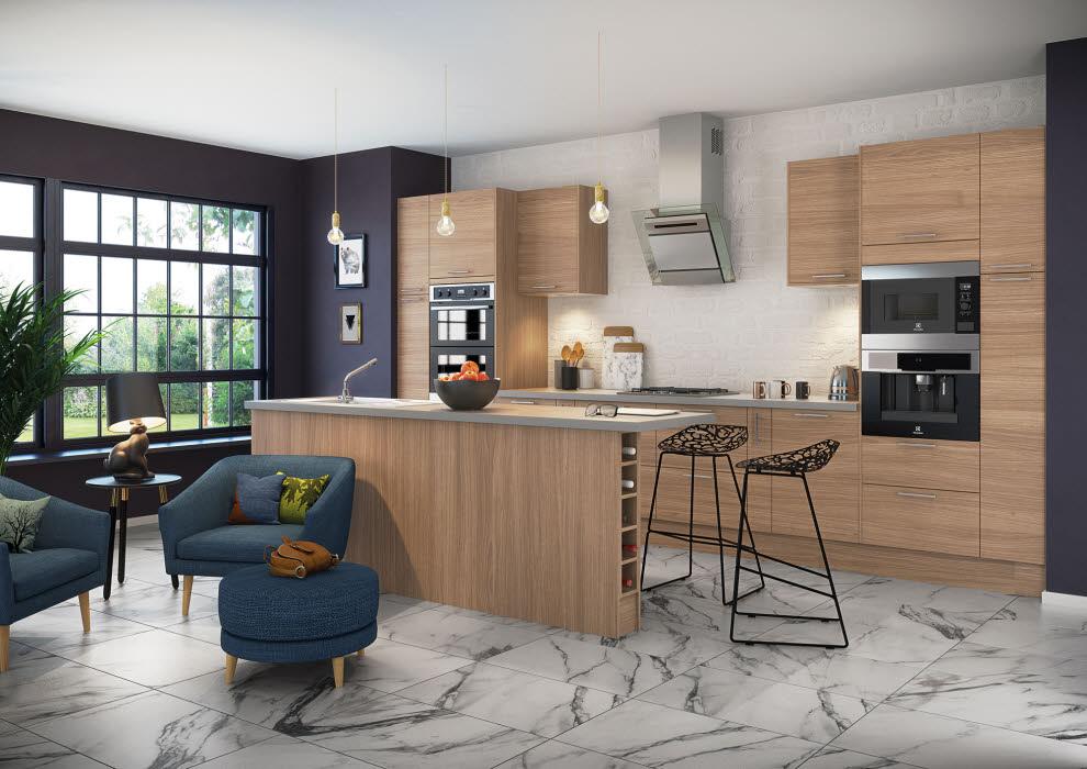 Contemporary alpine oak design kitchen from Magnet