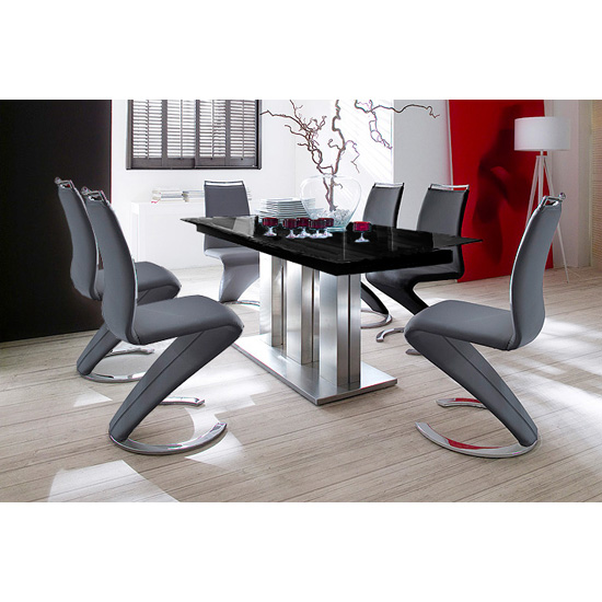Awesome Gorgeous modern black gloss dining table