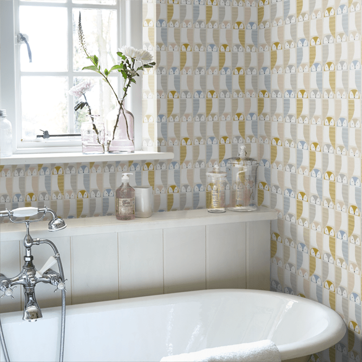 This geometric Barnie Owl wallpaper by Scion is a great addition to a bathroom wall