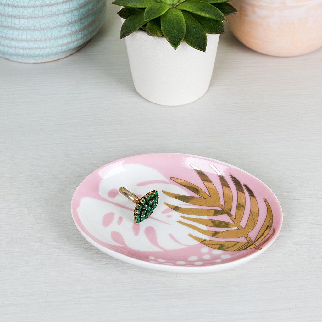Small pink, white and gold tropical palm design trinket tray