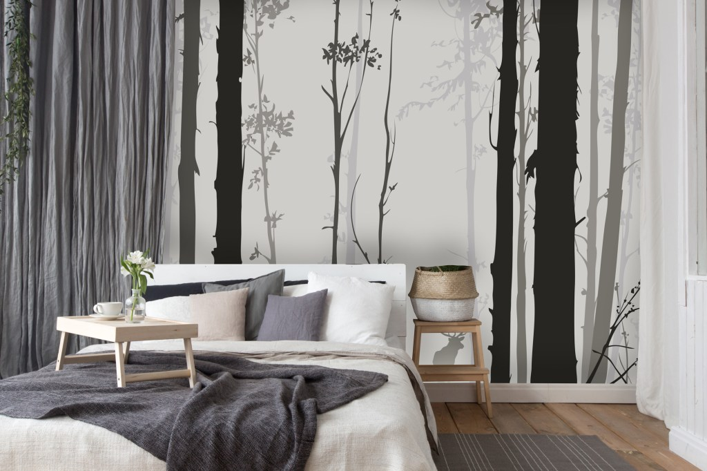 Stylised black and white forest design wall mural
