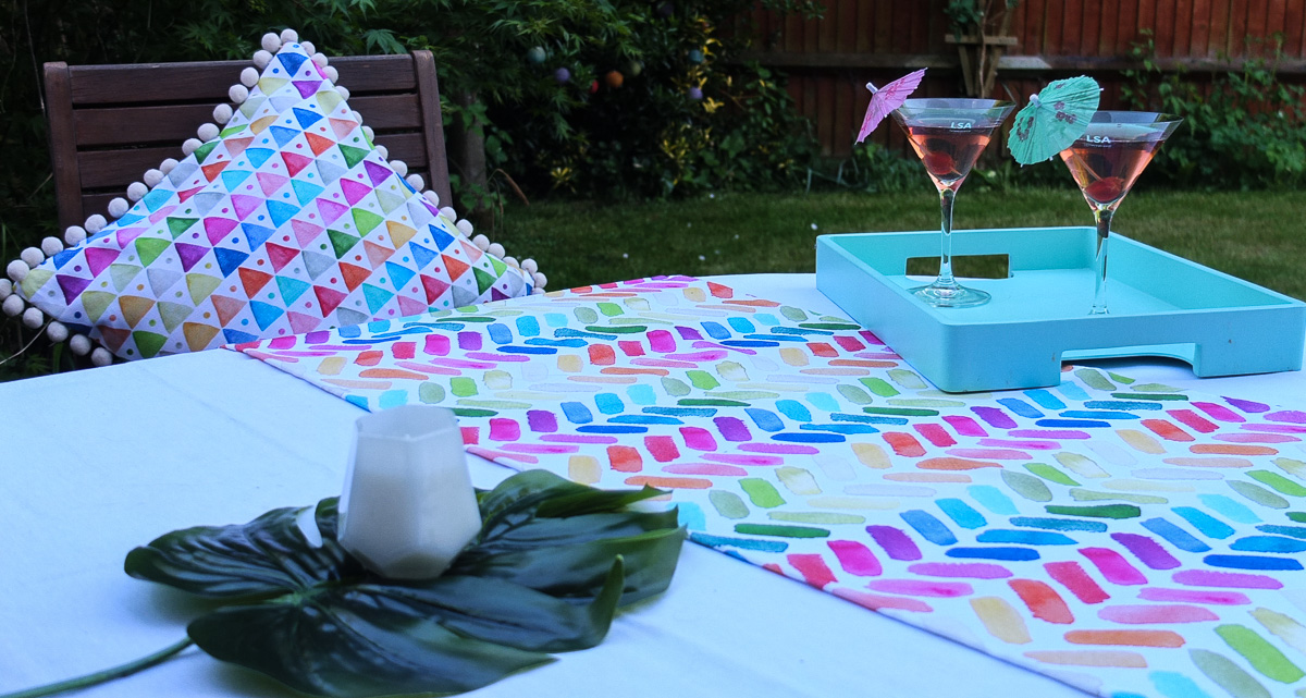 Summer cocktails in the garden with contemporary Dekoria textiles
