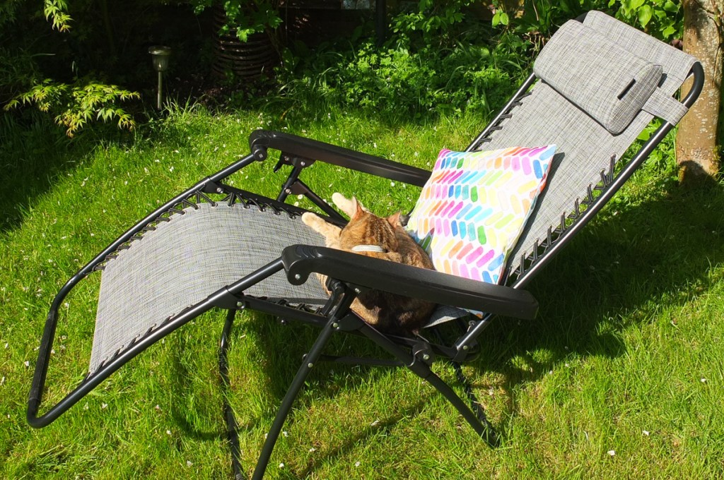 This reclining zero gravity chair is the perfect piece of garden furniture to use for relaxing outside during sunny summer weather