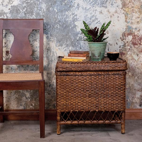 Love this mutli-purpose Bagu rattan chest. It opens up to reveal a roomy storage area inside and has room on top to display plants or other accessories