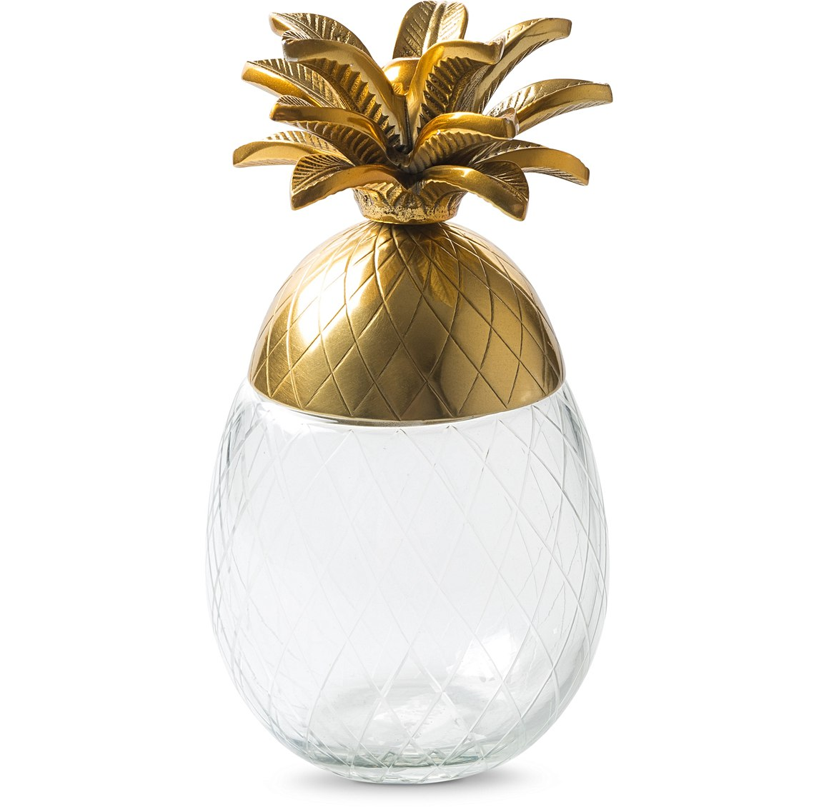 Store your trinkets in style in this lovely pineapple design glass storage box