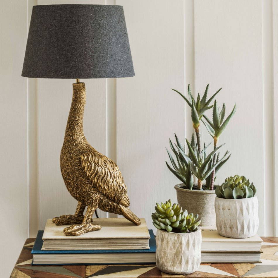 Gorgeous Gertrude the golden goose animal themed lamp from Graham and Green
